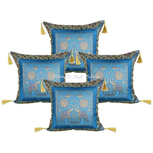 Stylo Culture Indio Elefante Fundas de Cojines 45x45 cm Turquesa Brocado Oro Fundas Cojines Sofa Fundas de Cojines para Sofa 18x18 Inch Jacquard Borlas fronterizas de Brocado Floral | Conjunto de 4