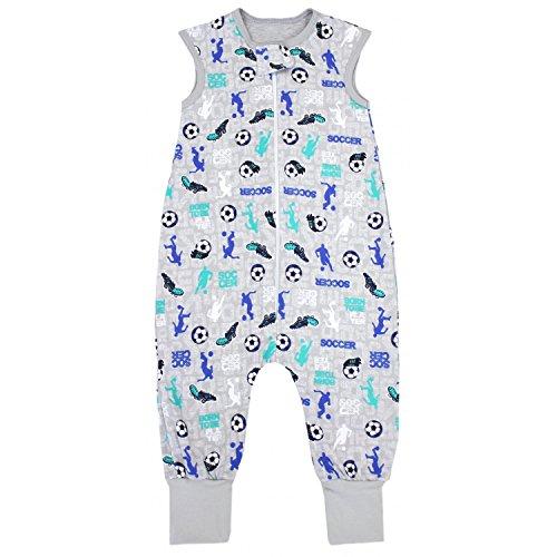 TupTam TupTam Unisex Babyschlafsack mit Beinen Unwattiert, Farbe: Fußballspieler Grau/Blau, Größe: 80-86