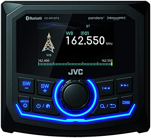 JVC KD-MR1BTS ATV & Marine Motorsports Gauge Digital Media Receiver w/ 2.7 inch Color Display, USB, AM FM Radio, Bluetooth, MP3, Weather Band, IPX6 Waterproof Compliance, Class D amp and Camera Ready