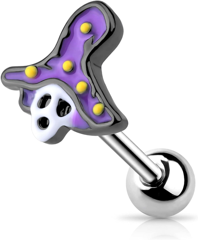 OUFER Helix Earrings Piercing Jewelry 16G 316L Stainless Steel Tragus Conch Piercing Black Skull Purple Witch Hat Halloween Cartilage Earrings