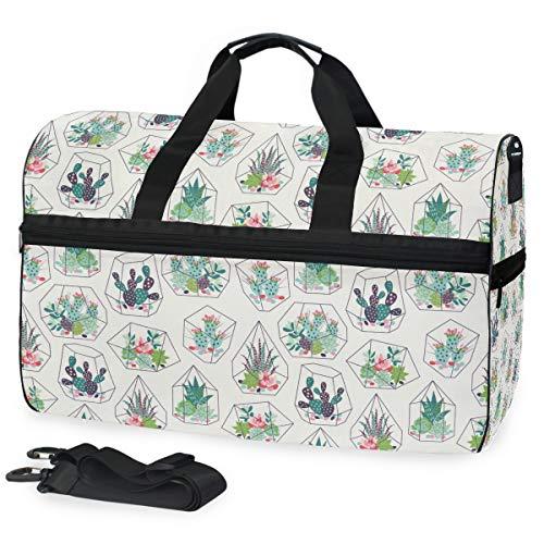 Oarencol Succulents - Bolsa de Viaje para terrario de Cristal de Cactus, diseño de Flores Tropicales, Bolsa de Viaje para la Noche con Compartimento para Zapatos para Hombres y Mujeres