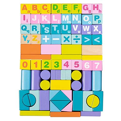 Houten Building Block Games Set, Puzzle Games Educatieve Construction Speelgoed Grote Multi Gekleurde Bouwstenen Voor 2 3 Jaar Oude Jongen Girl