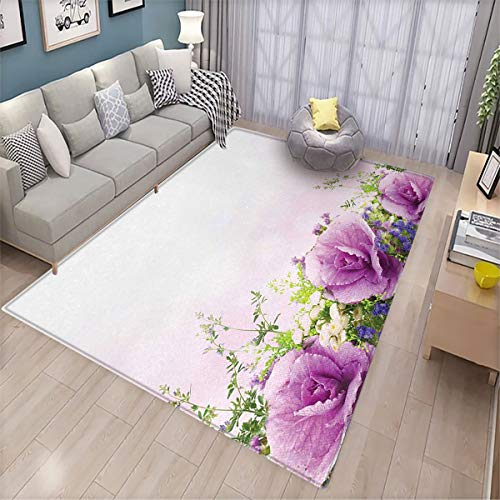 Flower Bedroom Floor mat Spring Cabbage Flowers in Fragrant Bouquet with Partially Shaded Color Romance Patio Door Floor mat Non-Slip Decoration 6'x9' Lavender Green