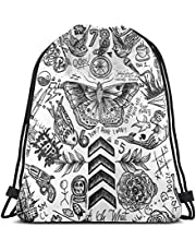 Qian Mu888 One Direction Tattoos Trekkoord Rugzak Lichtgewicht Gym Reizen Yoga Casual Snackpack Schoudertas voor Wandelen Zwemstrand