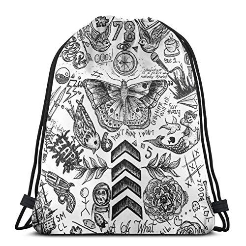 Qian Mu888 One Direction Tattoos Zaino Borsa Leggero Palestra Viaggi Yoga Casual Snackpack Borsa a Tracolla per Escursionismo Nuoto Spiaggia