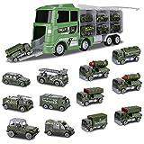 Hautton Diecast Vehículos Militares de Juguete, 12 en 1, Mini Aleación de Metal, Modelo del Ejército, Coche de Batalla Dentro del Vehículo de Transporte de Camiones para Niños Pequeños