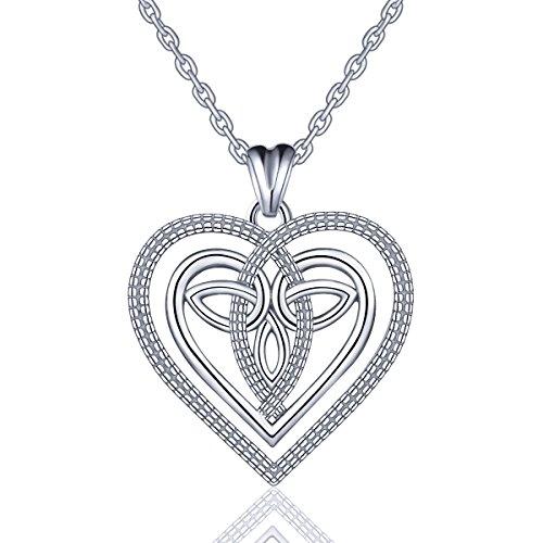 Eudora Kette Herz Damen Halskette 925 Sterling Silber Anhänger ''Wahre Liebe ist ewig'' Keltischer Knoten 45,7CM Kettenlänge Bestes Geschenk für Damen Mädchen
