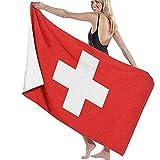 Olie Cam Badestrand-Reisetuch Mikrofaser Schnelltrocknende Schwimmdecke Leichte, hochsaugfähige Dusche Schweizer Flagge