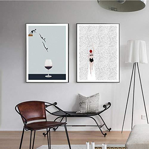 kaxiou Canvas afdrukken Abstract Scandinavisch poster zwemmen wijnglas Canvas schilderij muurkunst schilderijen voor de woonkamer moderne decoratieve prins aan de muur -40x60cm x 2 stuks geen lijst
