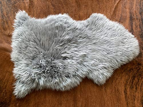 Grey Sheepskin Rug Real Australian Natural Single Pelt 2x3 ft Fluffy Sheep Hide Gray Fur Area Rug Authentic Wool Mat Suede Leather Back by Nature's Robe