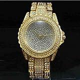 DECTN Reloj de Pulsera Reloj de Cuarzo Mujer, Reloj de Pulsera de Cristal Brillante Ginebra de Calidad súper Calidad dourado y FF