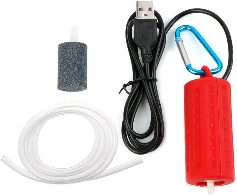 Aquarium Air Pump, USB Portable Fish Air Pump Aquarium Circulation Pump Mute Energy Save Compressor, Quietest High Energy Saving Oxygen Pump,Red,2pcs