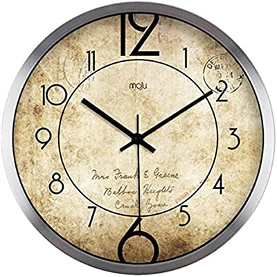 ZHAS Creative Vintage Simple Minimalist Digital Living Room Mute Wall Clock Quartz Clock Clock Wall Clock