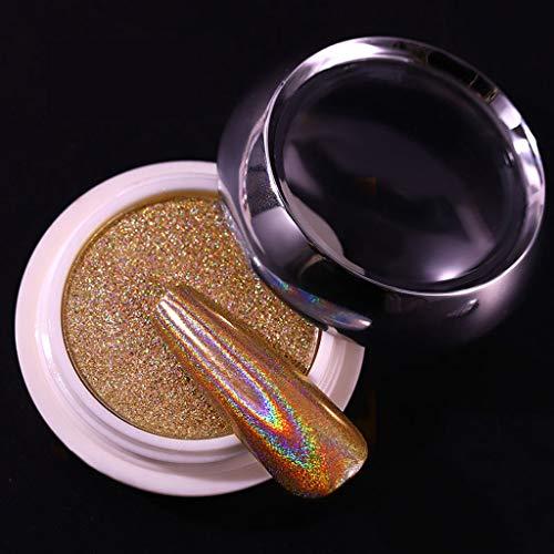 JHD 1 Box Holographic Glitter Nagelpulver Silber/Gold Rainbow Spangle Dip Pulver Chrompigmente Staubglänzende Nail Art Dekorationen
