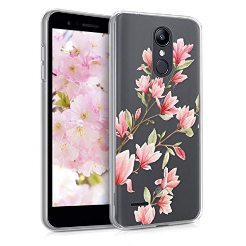 kwmobile Clear Case Compatible with LG K8 (2018) / K9 - Soft TPU Phone Back Cover - Magnolias Pink/White/Transparent