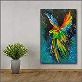 YuanMinglu Papagei im Flug abstrakte Kunstdruck wandkunst Wohnzimmer Moderne leinwand gemälde rahmenlose malerei 48x72cm