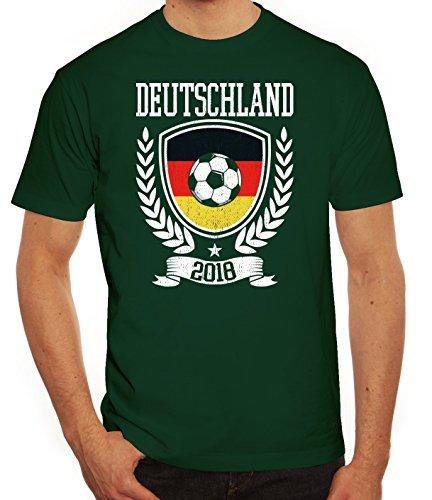 Germany Fußball WM Fanfest Gruppen Fan Herren Männer T-Shirt Rundhals Pokal Deutschland 2018, Größe: XXL,Dunkelgrün
