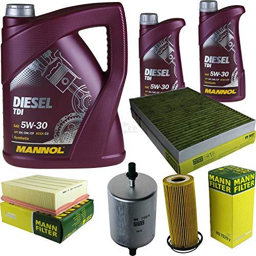 QR-Parts Set 85498697 C 27 192/1 FP 3037 HU 7029 z MN7909-5 MN7909-1 WK 720/4 paquete de inspección 7 L Diesel TDI 5W-30 + MANN paquete de filtros 10931856