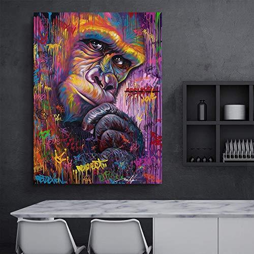 Kunstaffe Gorilla Tier abstrakte Leinwand Kunst Wandbild Wand Wohnzimmer Moderne Dekoration rahmenlose Malerei 50x70cm