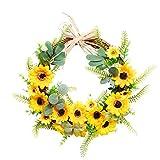 æ— Artificial Sunflower Wreath, 17.7 Inch Decorative Wreath for Front Door, Spring Summer and Fall Door Wreath, Indoor Outdoor Wall Window Farmhourse Decor