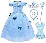 Jurebecia Cenicienta Vestido de Fiesta para Niñas Dress Largo de Gasa con Encaje de Princesa Halloween Fiesta de Cumpleaños 7-8 Años Azul
