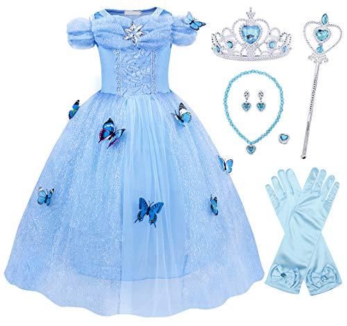 Jurebecia Cenicienta Vestido de Fiesta para Niñas Dress Largo de Gasa con Encaje de Princesa Halloween Fiesta de Cumpleaños 5-6 Años Azul