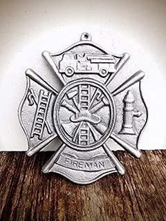 Silver Metallic Firefighter Maltese Cross Metal Wall Art Hanging – Modern Fireman Symbol Cast Iron Plaque