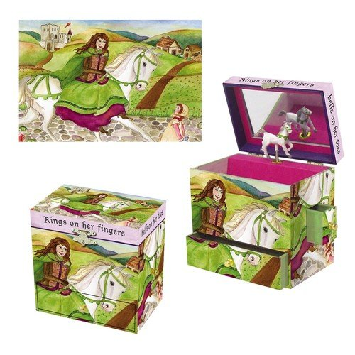 Schmuckkästchen Burgfräulein auf Pferd mit Spieluhr Greensleeves Schloss