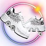 Dytxe Zapatos con Ruedas para Niñas Zapatos De Deformación Parkour Cuatro Rondas De Zapatos para Correr Patines De Ruedas 2 En 1 Patines De Recreación Al Aire Libre
