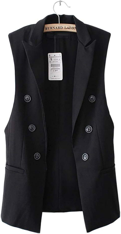 Women Coat Vest Jacket Sleeveless Blazer Quilted Female Button Outwear Suit Jacket