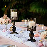 NUPTIO Set mit 2 Kerzenhaltern für Stumpenkerzen mit Glasabdeckung, Antiker Metall-Hurricane-Kerzenhalter Perfekt für Die Dekoration des Kamin-Esstisches Im Mittelpunkt, Halloween Weihnachten Deko - 3