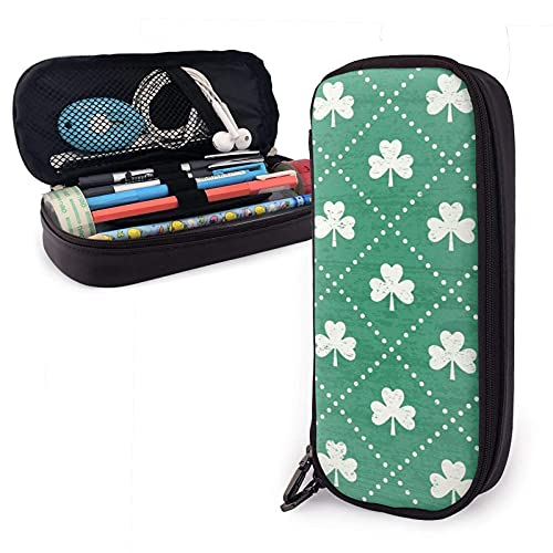 XCNGG Estuche para lápices neceser Shamrock On Emerald Variety Face Towel Leather Pencil Case Pouch Zippered Pen Box School Supply For Students Big Capacity Stationery Box Travel Makeup Pouch Bag