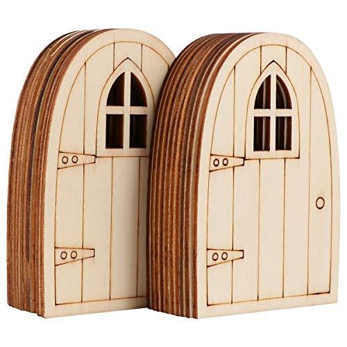Yardwe 20 STK Mini Holz Tür Landhäuschen Feen Tür Hölzerne Fee Tür Handwerkskit Holzscheiben Unbemalt für Basteln Dekoration Holz Miniatur-Fee Puppenhaus Mini-Möbel zubehör 3mm