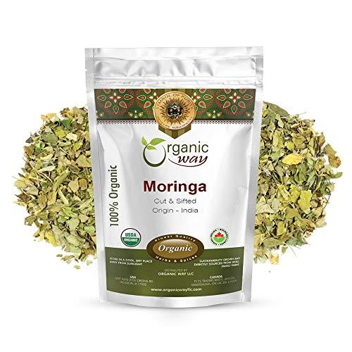 Organic Way Moringa/Drumstick Cut & Sifted (Moringa oleifera) - Immune and Energy Booster | Organic & Kosher Certified | Vegan | Non GMO & Gluten Free | USDA Certified | Origin - India (1/4LBS / 4OZ)
