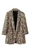 Fasumava Chaqueta De Mujer con Estampado De Leopardo Primavera Otoño Casual Retro Cardigan Abrigos Café S