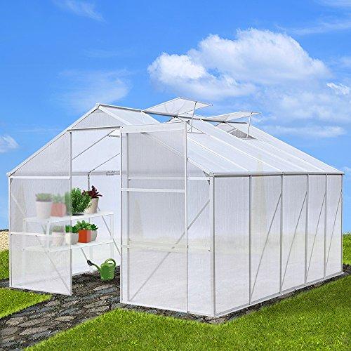 Jago Gewächshaus Treibhaus Pflanzenhaus Wintergarten Aluminium von -25°C bis + 60°C beständig 12,64 m³, 310x270x190cm