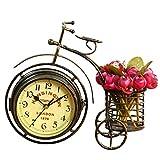 S.W.H Estilo Europeo Creativo Silencioso de Doble Cara Triciclo Titular de la Pluma Salón Dormitorio Decoración Reloj de Mesa Bronce