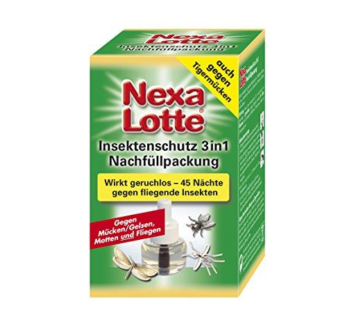 Nexa Lotte Insektenschutz 3-in-1 Nachfüllpackung für Elektroverdampfer gegen fliegende Insekten wie Mücken, Motten und Fliegen in allen Räumen