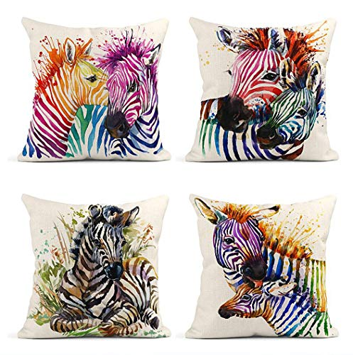 ArtSocket Set of 4 Throw Pillow Covers Cute Zebra Watercolor Wild Animals African Nature Exotic Wildlife Splash Decor Linen Pillow Cases Home Decorative Square 18x18 Inches Pillowcases