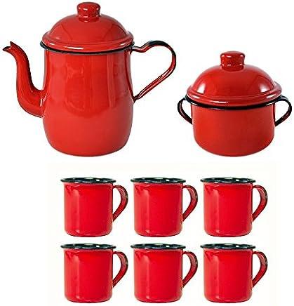 Kit Para Café Esmaltado ou Ágata Com Bule 1L Açucareiro e 6 Canecas 150ml Vermelho Retro - Metallouça