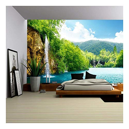 wall26 - Waterfall in Deep Forest of Croatia - Removable Wall Mural | Self-Adhesive Large Wallpaper - 100x144 inches
