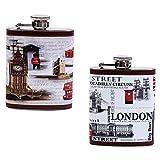 DISOK - Petaca London - Petacas Originales para Detalles de Bodas, Bautizos y Comuniones. Hombres y Mujeres, Estilo Retro,Vintage. Petacas Baratas