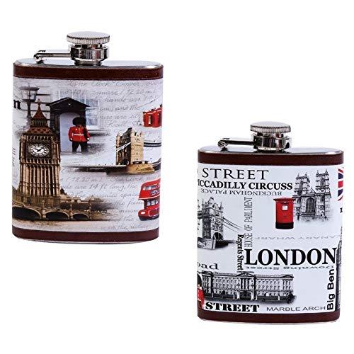 DISOK - Petaca London - Petacas Originales para Detalles de Bodas, Bautizos...