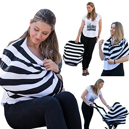 Châle d'allaitement pour couvrir la mère et le bébé - Housse pour siège auto, poussette, et siège de caddie Châle Coton Élastique Léger Noir Blanc Doux KIDOO WORLD