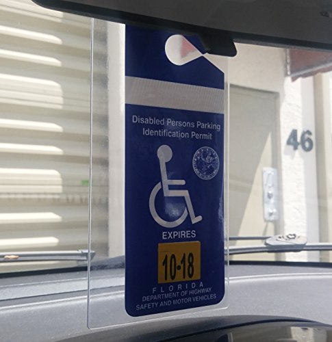 2 Pack - Clear Handicap Parking Placard Protective Holder - Rear View Mirror Disability Permit Hanger - Hard Flexible Plastic Construction - by Specialist ID Photo #5