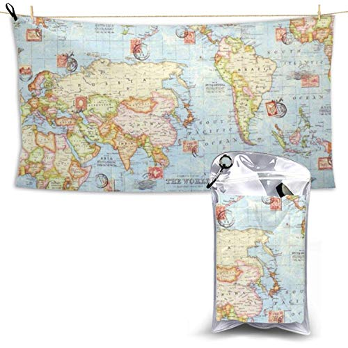 XCNGG Quick Dry Bath Towel, Absorbent Soft Beach Towels, Atlas World Map for Camping, Backpacking, Gym, Travelling, Swimming,Yoga 28.7'' X 51''
