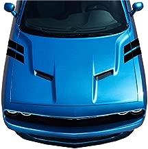 4 Inch Fender Hood Bars Carbon Fiber Vinyl Racing Stripes, Fits Dodge Challenger, Both Sides, Black
