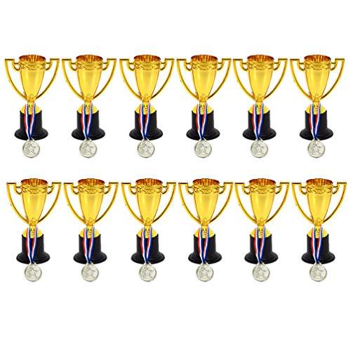 BESPORTBLE 24 Pezzi Premio Trofeo Bicchieri D'oro in Plastica Mini Medaglie Premio Premi Trofeo per Celebrazioni di Gare Sportive Giocattolo Passatempo Al Coperto (12 Pezzi Trofei + 12 Pezzi Medaglie)