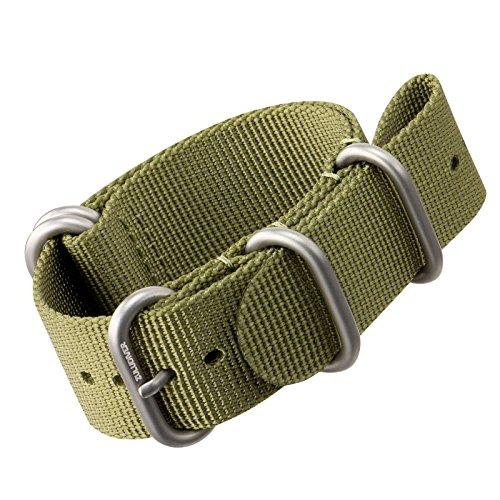 Cinturino di orologio di nylon da ZULUDIVER Fibbie ZULU Spazzolato, Verde,...