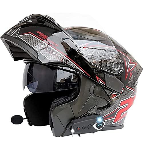 Casco De Moto Abatible,ECE Homologado Bluetooth Integrado Casco De Moto Modular,Cascos De...
